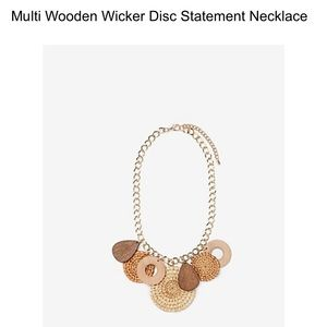 Express Multi Wooden Disc Statement Necklace